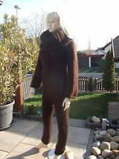 Traummohair Fuzzy longhair mohair Catsuit Sweater overall Neck nuevo S-L marrón