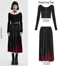 Punk Mulheres manga longa tops elástico fabrict Colheita Decoração Linha Vermelha Camisa