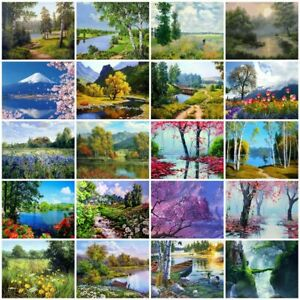 Scenery Painting By Numbers Kit Includes Paints / Brush / Board Landscapes