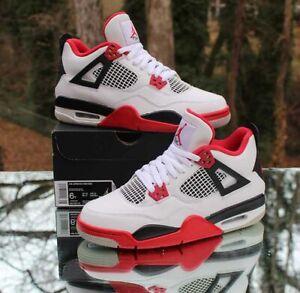 Nike Air Jordan 4 Retro Fire Red Size 7Y White Black 408452-160