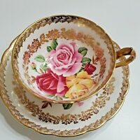 PARAGON TEACUP & SAUCER DARK PINK, PINK & YELLOW CABBAGE ROSES GOLD GILT FLORAL