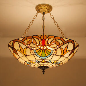 """20"""" Extral Large Hanging ceiling Lamp Tiffany Glass shade Baroque Fixture Lights"""