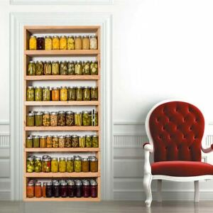 Canned Cupboard 3D Door Sticker Wrap Mural Scene Self Adhesive Home Decor Decal