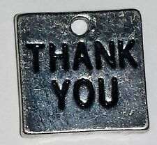 25 Thank You Thanks Charms Tags Antique Silver Metal Wedding Craft Favour B14558