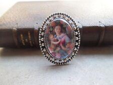 Brosche Silberfarbe gealtert Jungfrau das Kind 3,5 cm x 2,7 cm Cabochon Glas