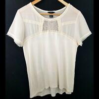 H&M womens blouse medium cream short sleeve lace sheer neckline pullover casual