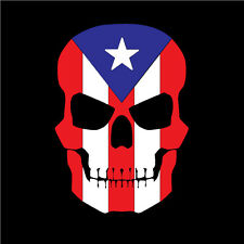 PUERTO RICO CAR DECAL STICKER SKULL with FLAG #147
