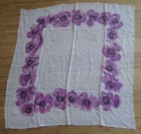 """Vtg 50s Woman Scarf Easter Sheer Purple Floral Flower Silk Hand Rolled 30"""" Pink"""