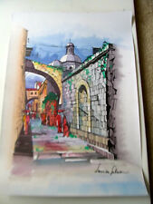 Israeli Art Judaica Old City Street Scene Original Watercolor  L Lalum 27 x19