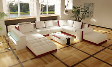 VIG White and Red Bonded Leather Sectional Sofa