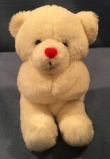 "Vintage 1979 Dan Dee Imports White Heart Nose Bear Valentine 8"" Plush Stuffed"