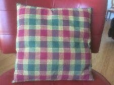 Burgandy/ Green / Gold Plaid Throw Pillow
