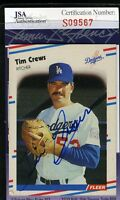 Tim Crews 1988 Fleer Jsa Certed Autograph Authentic Hand Signed