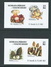 CZECHOSLOVAKIA 2000 MUSHROOMS FUNGI (Scott 3126-27 2 complete booklets) VF MNH