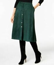 NY Collection Womens Faux Suede Skirt Green Button Front A-Line Large L Career