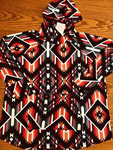 NWT Lularoe 2XL Amber Hoodie Sweatshirt Colorful Aztec Print Bright New HTF