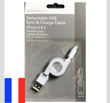 CABLE RETRACTABLE USB SYNC & CHARGE IPHONE 5 , 6 , 7 , 8 X IPOD IPAD TELEPHONE