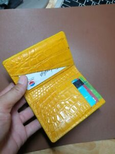 Yellow  doubleside Genuine Crocodile/ Alligator belly Leather Skin cardholder