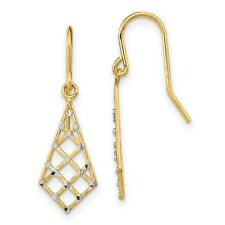 Small Criss-Cross Wire Earrings In Real 14k Yellow Two Tone Gold 1.07gr