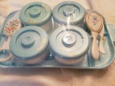 Vintage Nursery Orig Plastic Baby Dresser Organizer Vanity Tray & Jar Set Blue