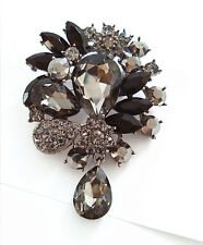 Distinctive Vintage Corsage Black Shadow Crystal Teardrop Brooch Pin BR101