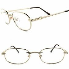 Genuine Vintage 80s 90s Rx-Able Prescription Mens Womens Gold Eye Glasses Frames