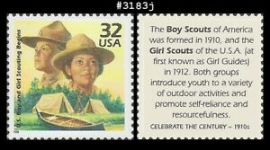 USA5 #3183j MNH 1910 US Scouting Begins Boy and Girl