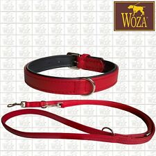 Premium Dog Set Collar + Lead WOZA Genuine  Soft Cow's Napa Padded Handmade SS68