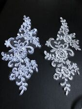 2 Pc Bridal Lace Applique Floral Corded Motif Ivory White Trim BUY 4 GET 1 FREE