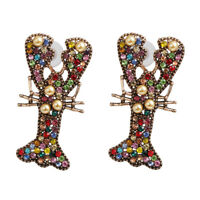 US Seller Betsey Johnson Mismatch Multicolor Crystal Lobster Earrings