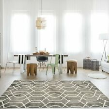 Gray Modern Easy living Soft Hand Woven Pure Wool Geometric Living Room Rugs