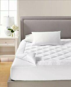 Martha Stewart Collection Premium Zip Top Queen Mattress Pad Washable, White