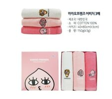 Kakao Friends Apeach Embroidery Towels Washcloths 3 Pcs Cotton 100%