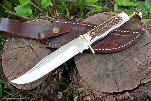 BEAUTIFUL CUSTOM HANDMADE D2 STEEL HUNTING KNIFE STAG HANDLE TACTICAL BOOT KNIFE
