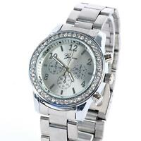 Chic Women Shinny Bling Crystal Stainless Steel Quartz Wrist Watch Cheap Watches