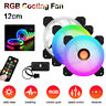 5 Pack RGB LED Quiet Computer Case PC Cooling Fan 120mm with Remote Control kit