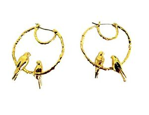 FRENCH FASHION JEWELRY -GOLD PLATED BIRD Hoop Earrings