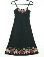 Sweetees Women's Black Spaghetti Strap Short Summer Dress Bead Detail Size M Red