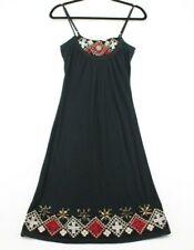 Sweetees Black Spaghetti Strap Short Summer Dress Red Bead Detail Women's Size M