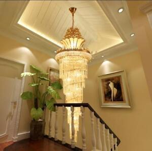 H100~400cm staircase chandelier LED crystal Villa Living room ceiling Lamp light