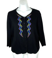 Bob Mackie Embroidered Medallion Sweater Size M Beige//Ivory
