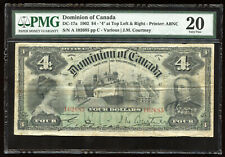 1902 Dominion of Canada $4 Banknote DC-17a - PMG VF-20 Scarce Note