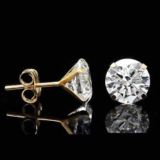 4CT CREATED DIAMOND MARTINI EARRINGS 14K YELLOW GOLD SOLITAIRE LIGHT PRONG STUDS