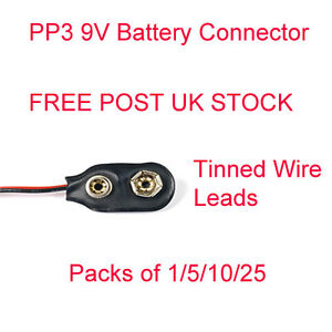 PP3 9V Battery Connector Clip Tinned Wire Leads 150mm 1/5/10/25 pcs