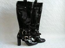 D&G Dolce & Gabbana schwarze Lackleder Stiefel Boots Schuhe 100% Leder 39