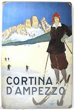 CORTINA D'AMPEZZO SKI METAL SIGN Italy Alps Snow NEW Vintage Repro USA Steel