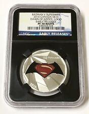 2016 Canada Batman V Superman S$10: Logo Silver Coin Early Release PF 70 Matte