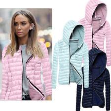 UK Womens Slim Winter Warm Coat  Zip UP Jacket Ladies Padded Hooded Collar Coats