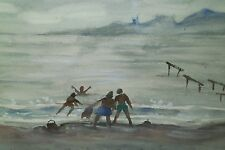 At the Beach, Ireland Watercolor Painting-1984-James Carlin