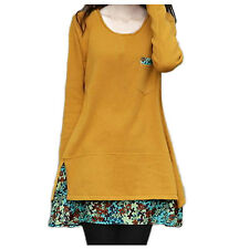 Short Womens Top Mini Cotton Vintage Long Sleeve Dress UK Sz 8-18 Yellow 14